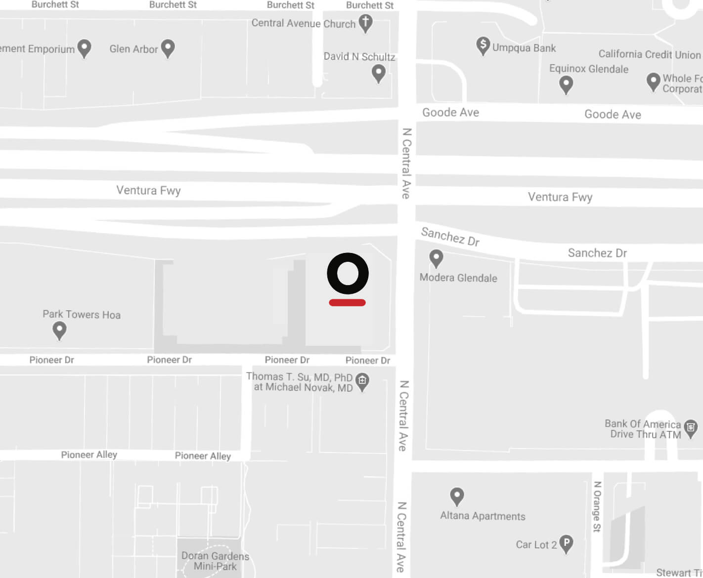 Picture of a map with the letter O with a red underline marking the location of the OvareGroup headquarters, at 655 North Central Ave., Glendale, CA 91203